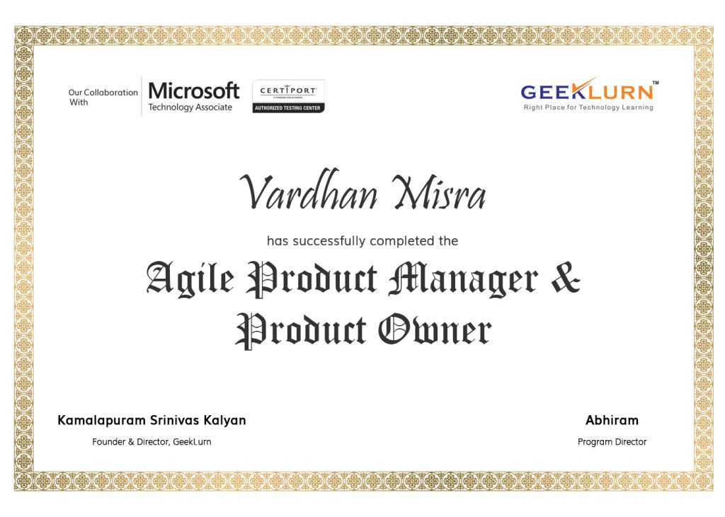 agile product manager and product owner online certification