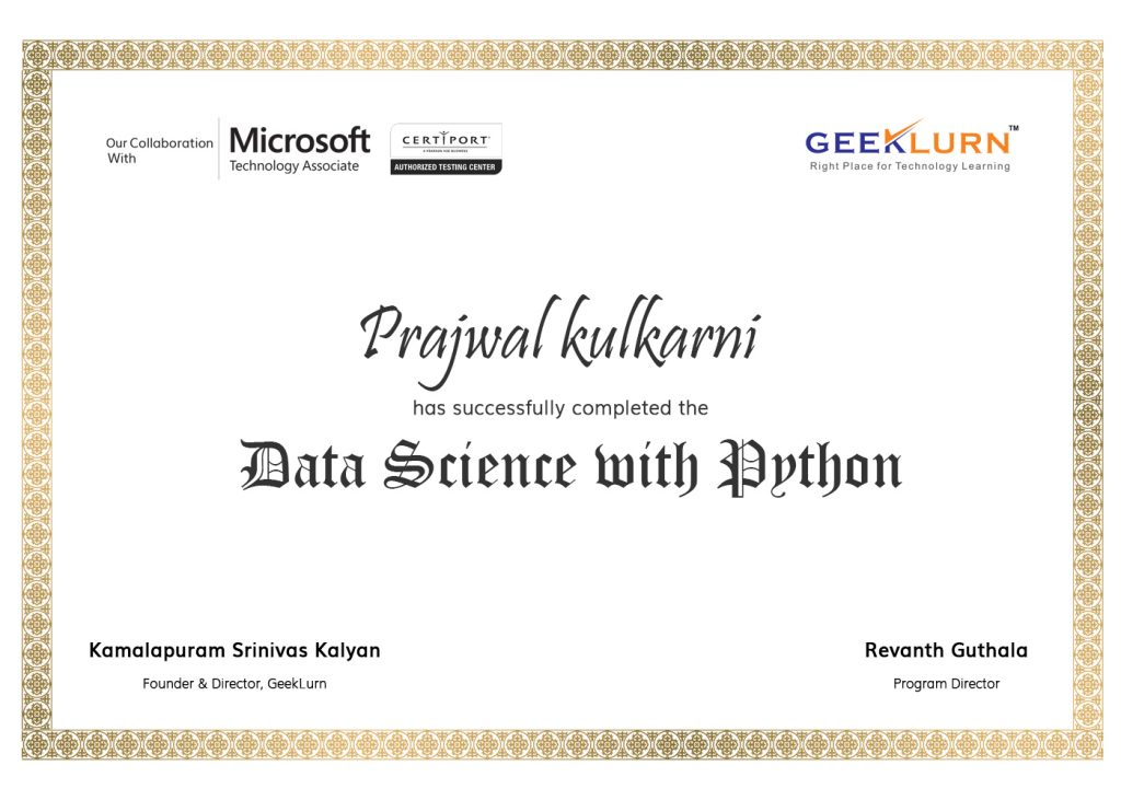 Data Science with Python Online Certification Program in Bangalore