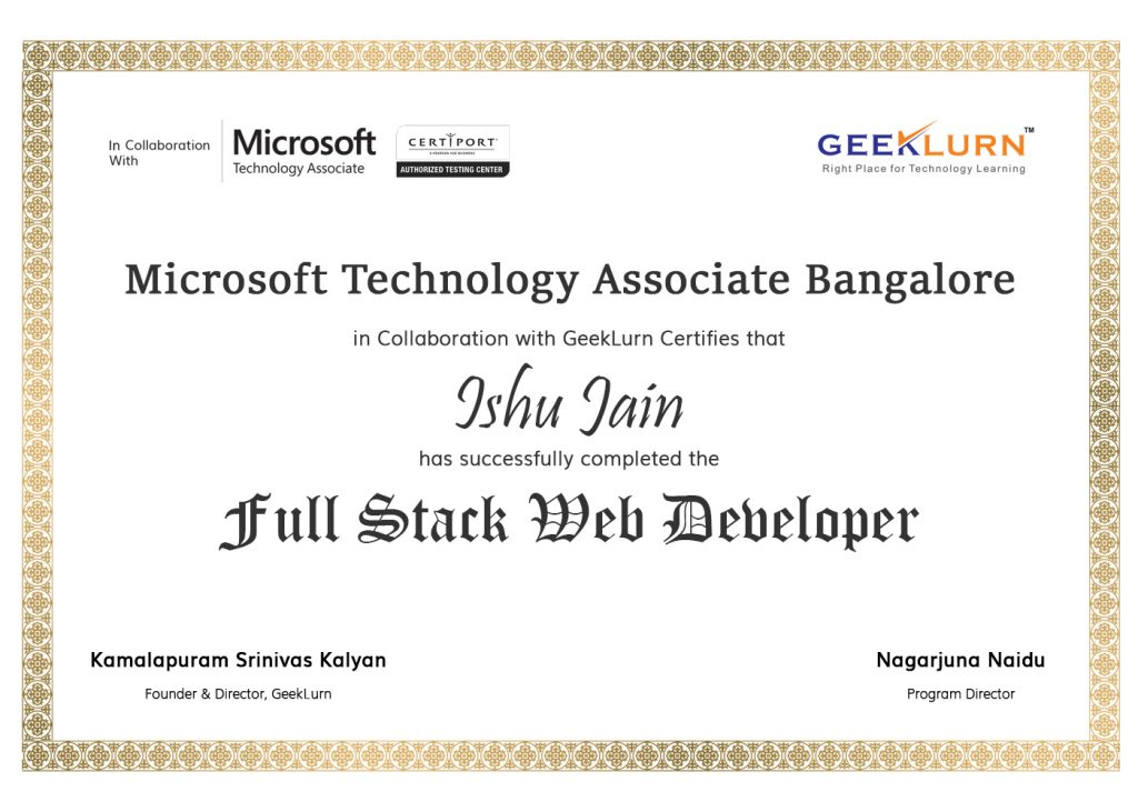 full stack web developer MTA online certificate